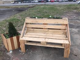 Pallet bench built in partnership with CSL Plasma