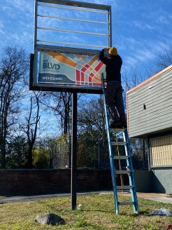 Installing branding banners at 28th Street
